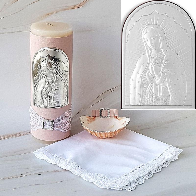 Kit de Bautizo, Virgencita Guadalupana, plata italiana