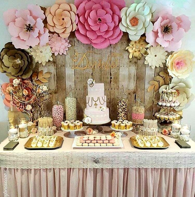 Ideas bonitas, originales y lindas de mesas de dulces y postes.